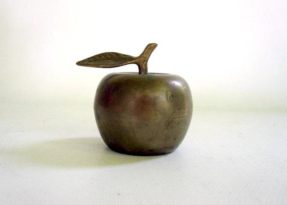Brass Bell Apple - Teachers Desk Apple Bell - Brass Apple