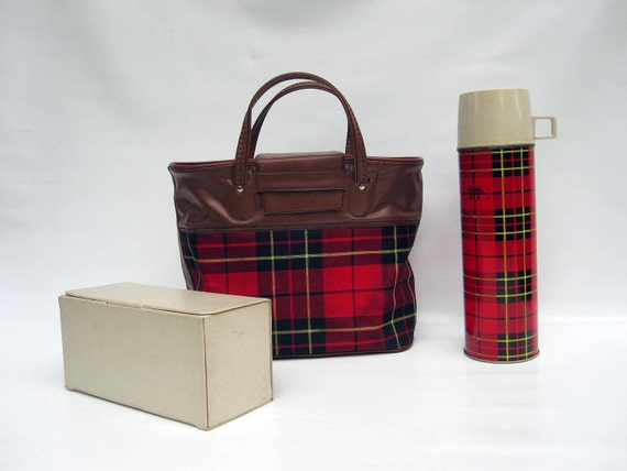 Mid Century Picnic Tote by Thermos - Red Black Tartan Plaid Retro Picnic Bag and Sandwich Box
