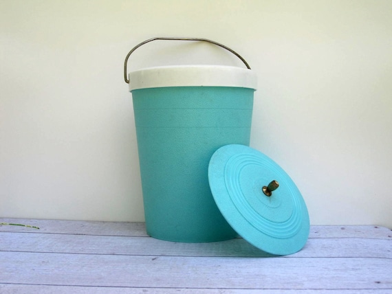 Retro Turquoise Blue Ice Bucket Cooler - Mid Century Plastic Beverage Pail for Summer