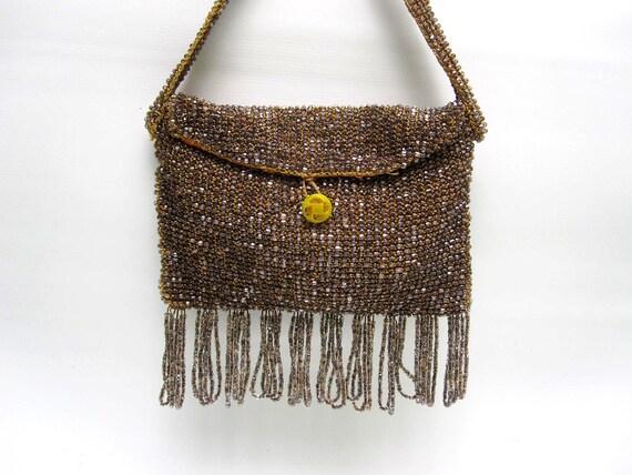 Antique Beaded Fringe Purse - 1920s Flapper Handbag