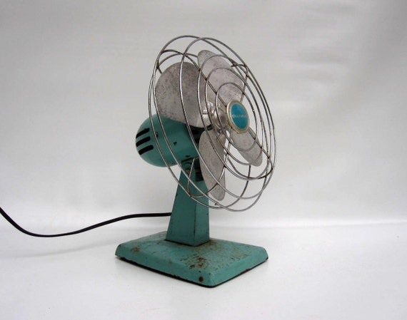 Turquoise Electric Fan - Mid Century Aqua Blue Industrial Fan by Eskimo 1950s - Working Condition