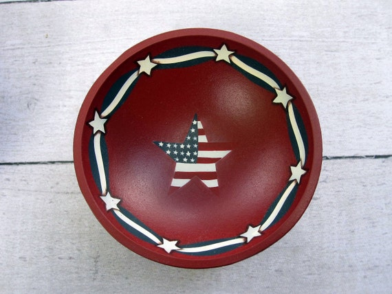 RESERVED for K. - Vintage American Flag Bowls - Patriotic Red White and Blue