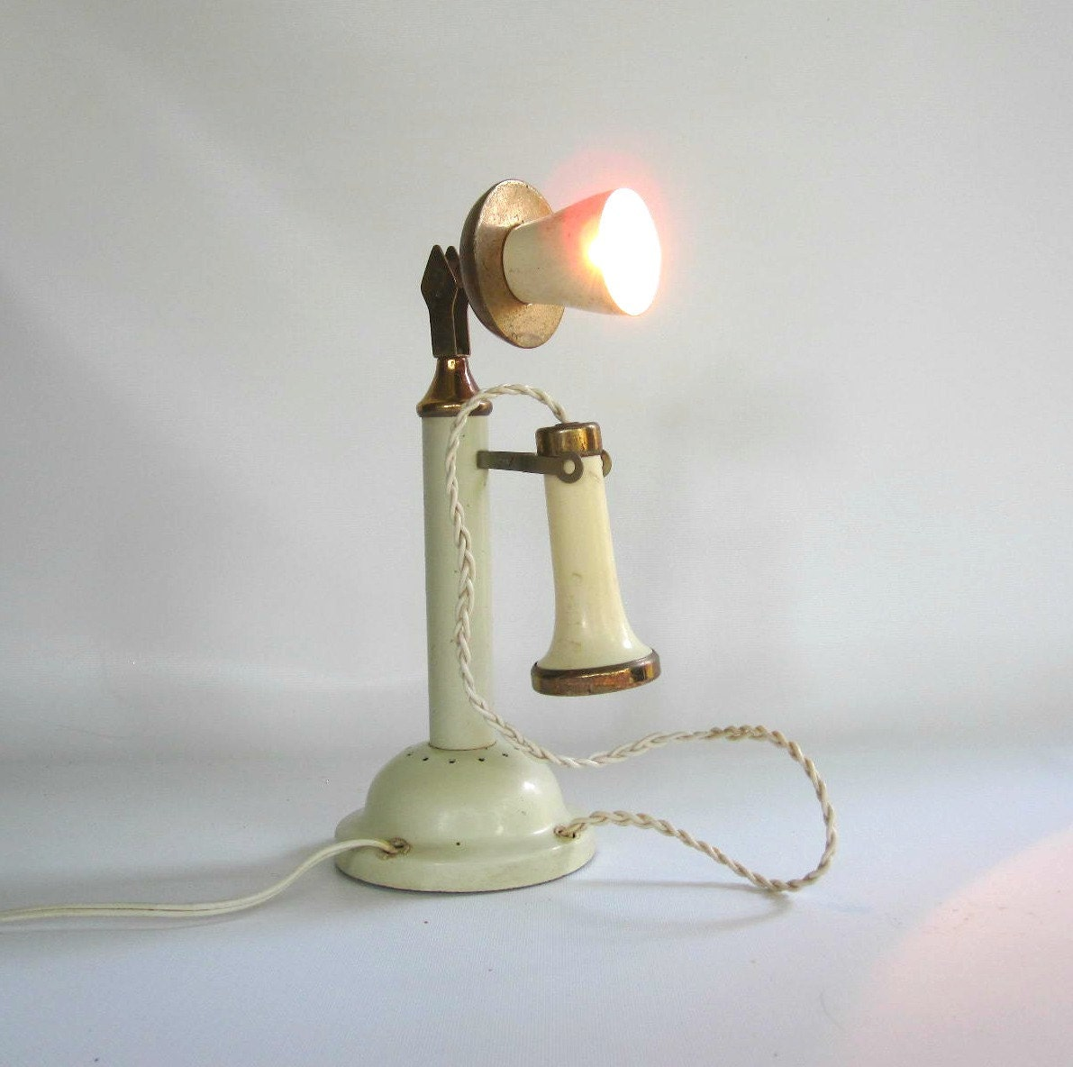 Mid Century Lamp Candlestick Telephone Lamp Phone Lamp
