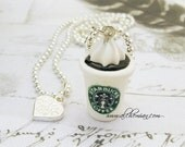 Handmade Polymer Clay starbucks Necklace