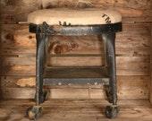 Mini Stool w/Burlap Seat on Casters
