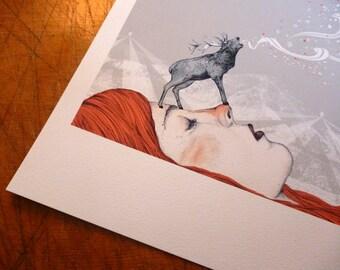 Deer Lady // Signed A4 print