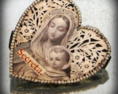 HOLY MOTHER AND CHILD Art Nouveau Heart Reliquary Pendant