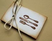 Coin Envelopes - Fork, Knife, Spoon Stamped - Set of 6 -  Distressed, Brown, Cream, Ivory, Gift, Charming, Tags, Favor, Winter, Fall