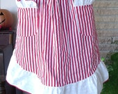 Red and White Candy Stripe Holiday Christmas Half Apron with Pockets