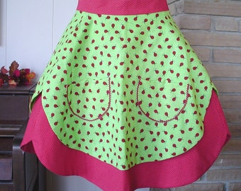 Lots of Ladybugs Cute Half Apron with Pockets