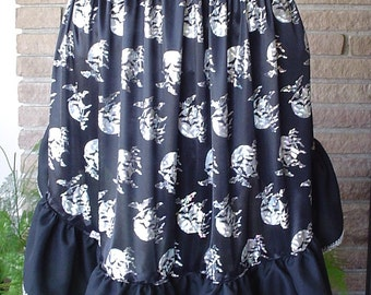 Bats and Full Moon Halloween Half Apron