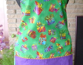 Laurel Burch Cats and Birds Holiday Christmas Full Length Apron