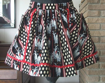 Chickens and Eggs Retro Style Half Apron with Pockets
