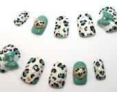 Japanese Nail Art Blue Leopard Print Bows