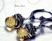 CITRINE - Citrine, Bali Sterling Silver, Sterling Silver Earrings