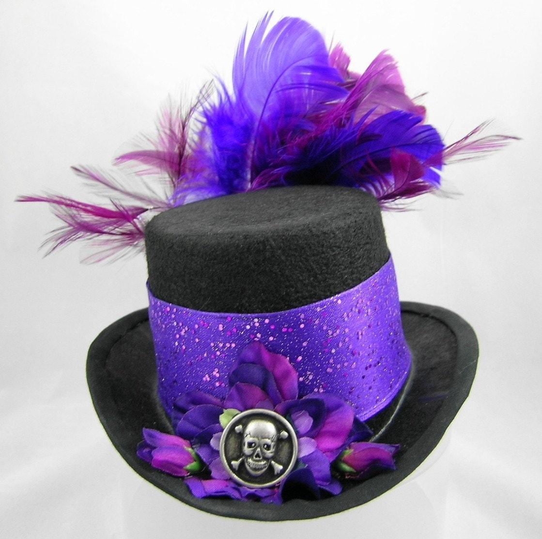 Mini Top Hat Pirate Skull Halloween Purple Sparkle and