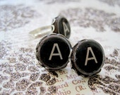 Typewriter Key Initial Earrings in 15mm Burnished Silver Filigree Bezel - Made to Order Using Surgical Steel Posts