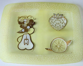 Vintage Dan Baird  Houze Art Divided Glass Tray