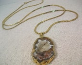 Beige Geode Druzy Pendant on 30 in gold chain with spring ring closure