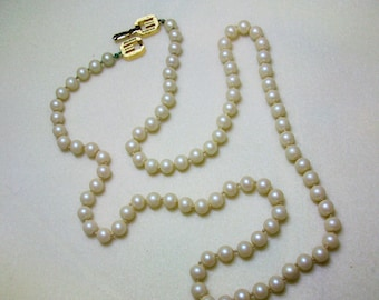 "Givenchy Vintage Hand-knotted Faux Pearl Necklace Double ""G"" Logo Clasp"