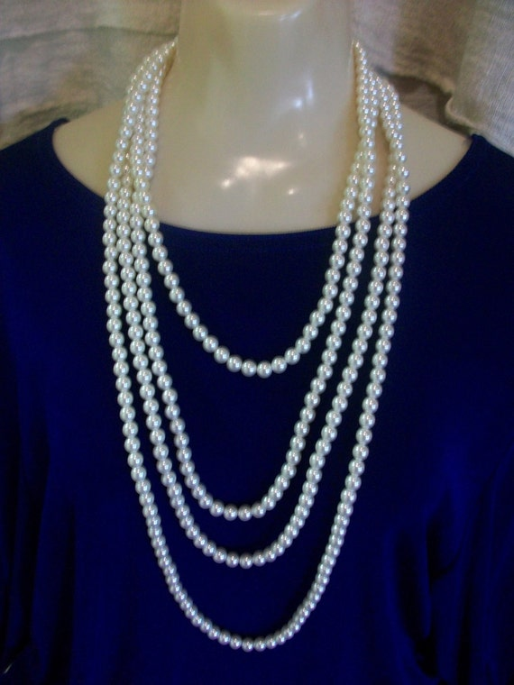 1920s Extra Long 120in Flapper Style Faux Pearl Necklace