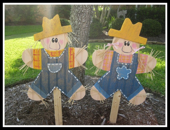 Items similar to wood scarecrow fall decoration yard stake for Wooden yard decorations