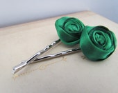Emerald Rosette Hair Pins