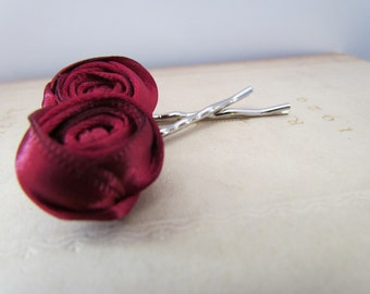 Burgundy Rosette Hair Pins | Dark Red Rosette Bobby Pins