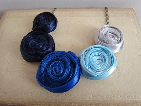 Blue Ombre Rosette Necklace | Ombre Statement Necklace