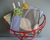 Gray, Green and Blue Potholders, Set of Three (3) Upcycled: Reserved Kate Williams / Will Seitz