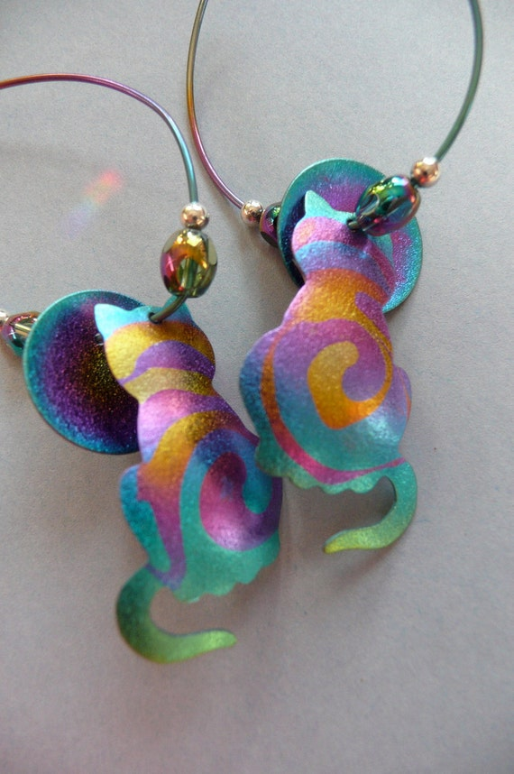 Cat Jewelry Niobium Cat Earrings Handmade Jewelry
