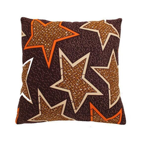 African Wax Print Pillow Cover (Assane Brown)