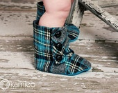 Baby Boy Boots Organic Cotton Lined. The Cuddle Loom. Blue and Gray Plaid.