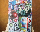 "Sci-fi Rocket Space Girl Collage ACEO Art Card, Orginal Signed 2.5"" x 3.5"""