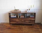 Bookcase Console With Mixed Walnut-Paneled Doors, Walnut