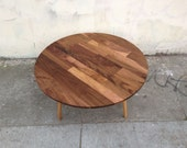 Mid Century Round Walnut Cocktail Coffee Table