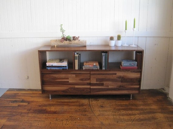Bookcase Console With Mixed Walnut-Paneled Doors, Walnut