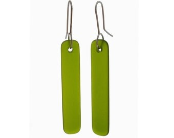 Straight Drop Recycled Green Glass Earrings