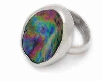 New Zealand Paua and Sterling Silver Concave Ring