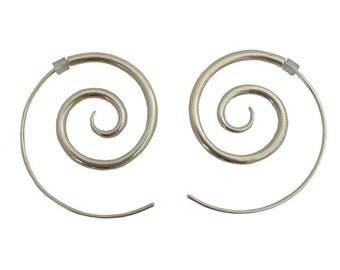 Spiral Sterling Silver Earrings (Large)