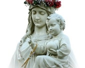 Virgin Mary with Crown of Flowers and Child Jesus - 11 x 14 photo of statue