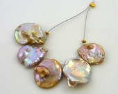Natural mauve bronze top drilled keshi pearls 14-17mm