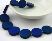 Vintage blue wooden coin beads 20mm