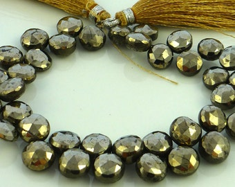 Glam pyrite faceted coin briolette beads 8-9mm set of 6