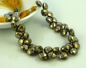 Glam pyrite faceted heart briolette beads 10mm set of 4