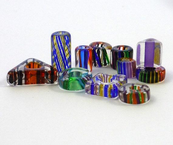 RESERVED For Deirdre.............. David Christensen cane glass mix ..... tubes, rounds, slices set of 11beads