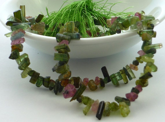 SALE.............Amazing watermelon & green  tourmaline crystal stick beads 4-10mm1/2 strand 8 inches