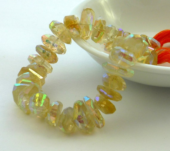 Mystic ab coated citrine faceted nugget beads 12-15mm 1/4 strands