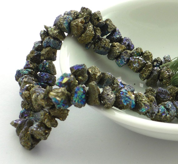 Mystic coated pyrite nugget beads 9-10mm 1/4 strand