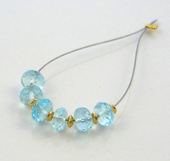 Beautiful sky blue topaz microfaceted rondelle beads 5mm